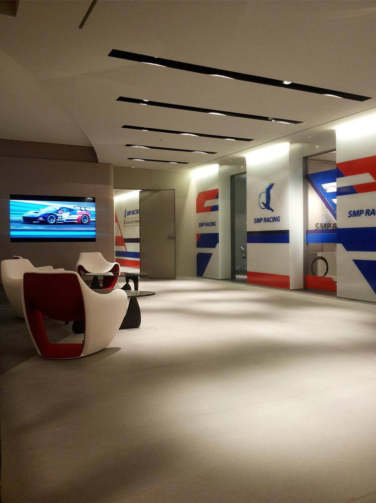 Andrea Gattei Architetto - Commercial - interni ingresso SMP Racing Montecarlo